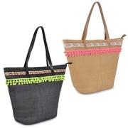 Paperstraw w Braid  & Pom Pom Trim Bag Asstd (BB0982)